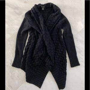 Lucky Brand black wrap cable sweater.